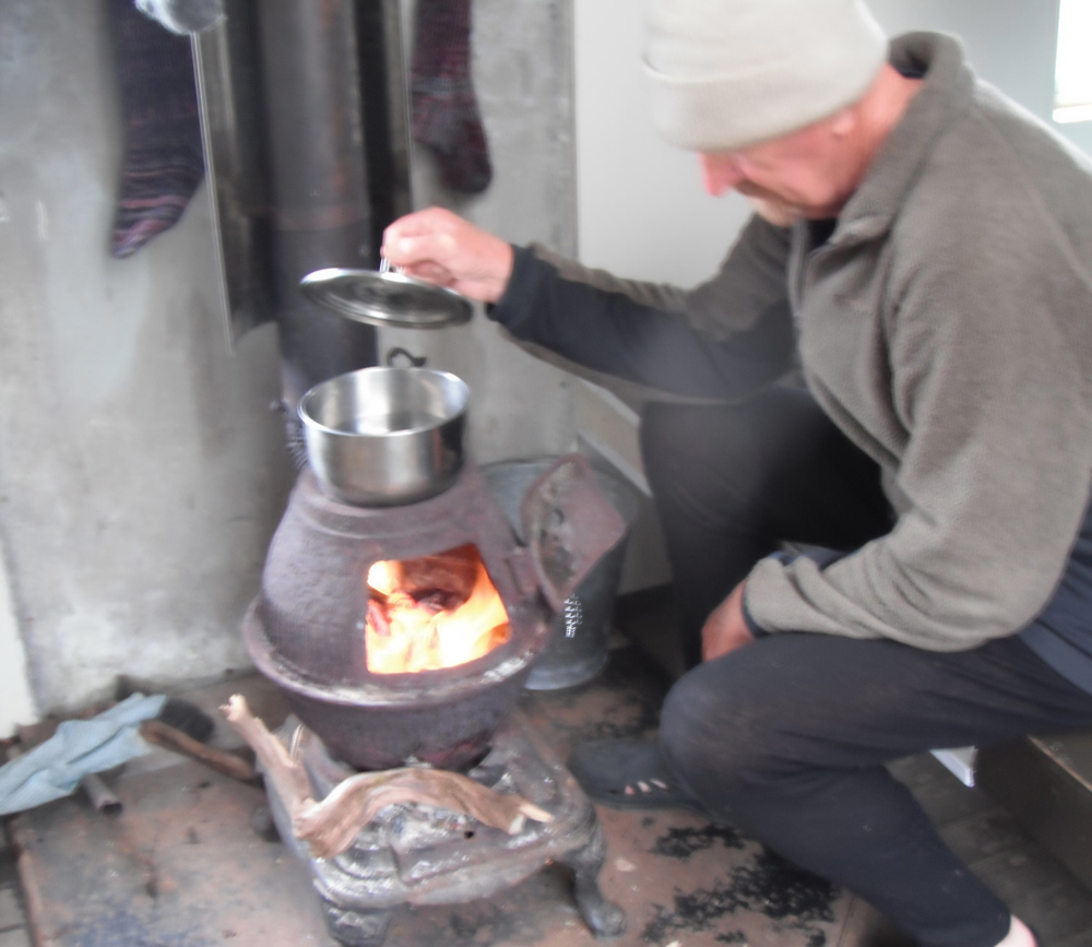 Cooking on a wood stove2